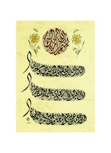 BEDESTEN PAZAR Hüsn-i Hat 21x30 cm Çerçevesiz Divani Yazı Fatiha Suresi Renkli